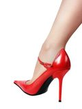 Leg in red shoe Royalty Free Stock Photos