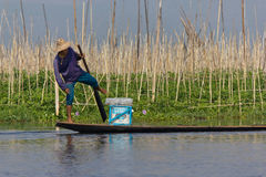 Leg-rowing fisherman at Inle Lake, Myanmar Royalty Free Stock Photos