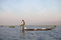 Leg rowing and fishing on the Lake Inle Myanmar Stock Photos