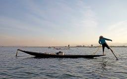 Leg rowing and fishing on the Lake Inle Myanmar Royalty Free Stock Photo