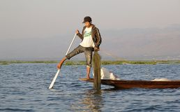 Leg rowing and fishing on the Lake Inle Myanmar Royalty Free Stock Images