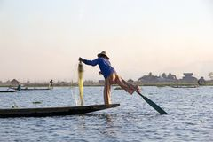 Leg rowing and fishing on the Lake Inle Myanmar Royalty Free Stock Photography