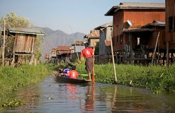 Leg rowing on the Inle Lake Stock Photo