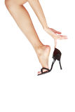Leg in shoe Royalty Free Stock Images