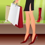 Leg of shopping sexy girl. Vector illustration Royalty Free Stock Photos