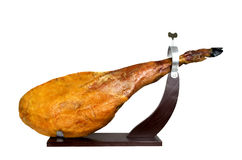 Leg of spanish serrano ham on a support Stock Photo