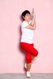 Leg stretching exercises Stock Photos