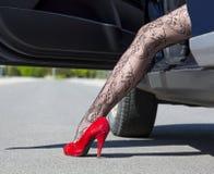 Leg of stylish female driver Royalty Free Stock Photography
