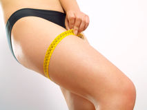 Leg with tape measure Royalty Free Stock Image