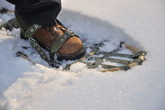 Leg with traditional snowshoes. Photo of snowshoes - you can walk on snow with them Stock Images