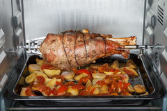 Leg turkey baked in oven Royalty Free Stock Image