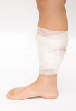Leg wrapped with bandage Stock Photo
