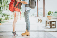 Leg of young couple in love traveler kissing Stock Image