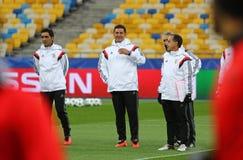 Lega di campioni di UEFA Dynamo Kiev v Benfica: addestramento della pre-partita Fotografie Stock Libere da Diritti