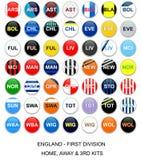 Lega di Football Americano dell'Inghilterra - squadre del kit Immagini Stock Libere da Diritti