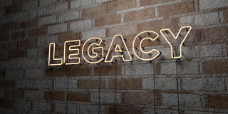 LEGACY - Glowing Neon Sign on stonework wall - 3D rendered royalty free stock illustration. Can be used for online banner ads and direct mailers Royalty Free Stock Images