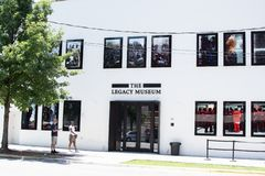 The Legacy Museum on Coosa St. Montgomery, Alabama/USA-August 6, 2018: The Legacy Museum on Coosa Street in downtown Montgomery. The museum is on the site of royalty free stock photography