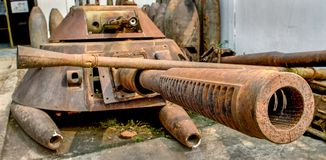 Old tank parts in Phonsavan stock photography