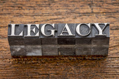 Legacy word in metal type stock image