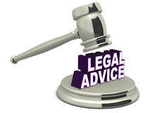 Legal advice. Word under fall of a justice hammer, white background, metal chrome hammer Stock Images