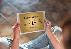 Legal advice concept on a tablet Stock Images