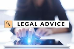 Legal advice ext on virtual screen. Consulting. Attorney at law. lawyer, Business and Finance concept. stock photography