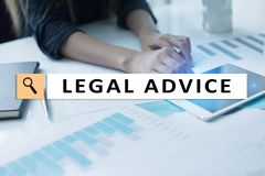 Legal advice ext on virtual screen. Consulting. Attorney at law. lawyer, Business and Finance concept. stock images