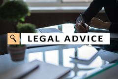 Legal advice ext on virtual screen. Consulting. Attorney at law. lawyer, Business and Finance concept. royalty free stock photos