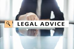 Legal advice ext on virtual screen. Consulting. Attorney at law. lawyer, Business and Finance concept. stock photo