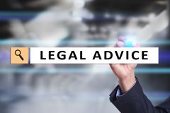 Legal advice ext on virtual screen. Consulting. Attorney at law. lawyer, Business and Finance concept. stock image