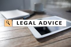 Legal advice ext on virtual screen. Consulting. Attorney at law. lawyer, Business and Finance concept. royalty free stock images