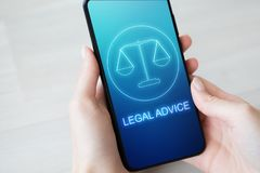 Legal advice icons on mobile phone screen. Attorney at law, consultation, supprot. Business concept. royalty free stock photos