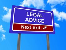 Legal advice next exit sign Royalty Free Stock Photos