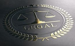 Legal Advice, Scales Of Justice, Golden Law Symbol Over Black Pa. Legal symbol with scales of justice, golden sign embossed on black paper background. 3D royalty free illustration