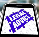Legal Advice Smartphone Shows Online Lawyer Stock Photos