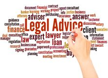 Legal Advice word cloud hand writing concept stock image
