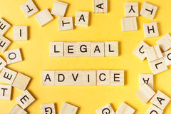 Legal Advice word written on wood block. Wooden ABC Royalty Free Stock Images