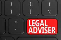 Legal Adviser on black keyboard. Legal Adviser on black keyboard, 3D rendering Royalty Free Stock Image