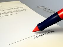 Legal agreement. About to sign a contract. Digital illustration Royalty Free Stock Photo