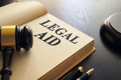 Legal aid written in a book. Advice concept stock photo