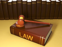 Legal assistance conditional. 3d illustration: Legal assistance conditional. Group of books in the background and the Judicial hammer help in addressing the Royalty Free Stock Photography