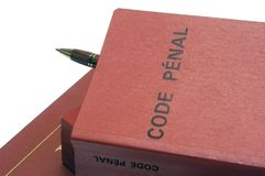 Legal books and the French penal code Stock Photos