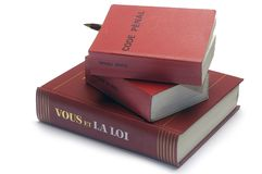 Legal books and the French penal code Stock Image
