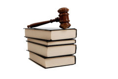 Legal books and Gavel stock photo