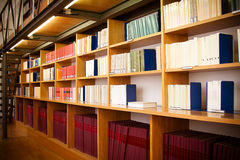 Legal books in a library aisle. Royalty Free Stock Images