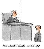 Legal Cartoon. About a lawyer complaining to the judge that court is too early in the morning Royalty Free Stock Photo
