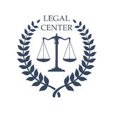 Legal Center emblem with Scales of Justice icon. Legal or juridical center icon or badge with Scales of Justice symbol. Vector emblem for advocacy or notary Stock Images