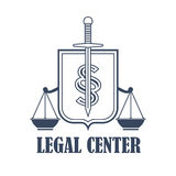 Legal center justice scales vector heraldic icon. Advocacy juridical icon or legal center emblem for advocate or attorney office. Symbol of scales of justice Royalty Free Stock Image