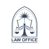 Legal center or law office icon with scale and book. Juridical or legal icon with scale or weigher and opened book with star or sun light behind. Juridical or Stock Images