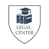 Legal center and law vector isolated icon. Advocacy and legal center vector icon with symbols of law code books and judge or juror hat. Juridical shield sign or Stock Image